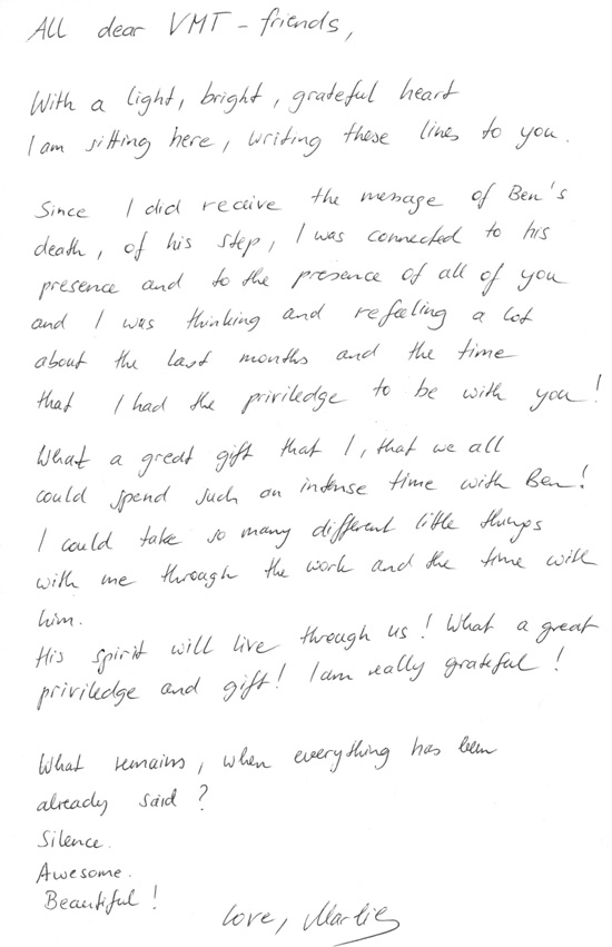 Tribute letter to Ben van Rensburg